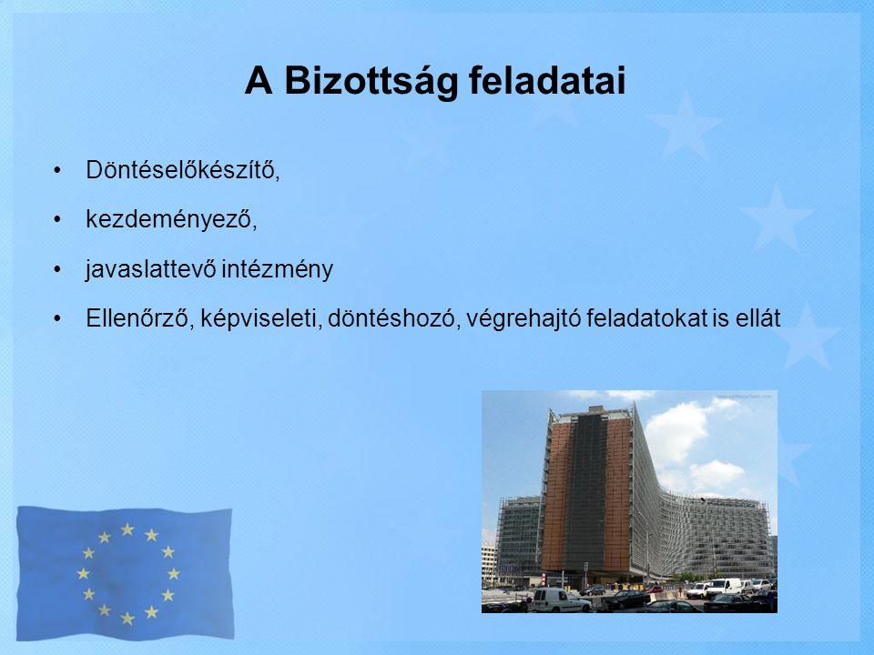 A Bizottság feladatai Döntéselőkészítő, kezdeményező,