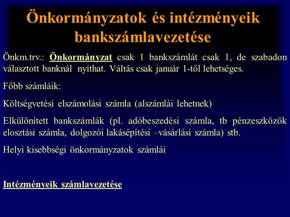 Önkormányzatok és intézményeik bankszámlavezetése