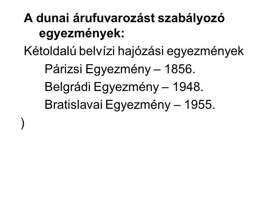 A dunai árufuvarozást szabályozó egyezmények: Kétoldalú belvízi hajózási egyezmények Párizsi Egyezmény – 1856.