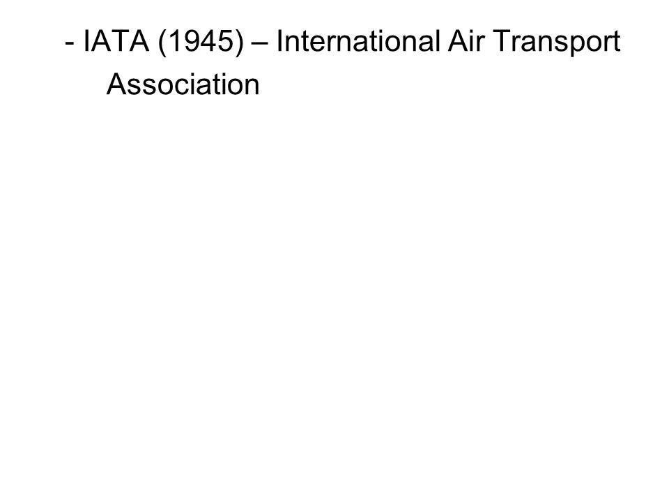 - IATA (1945) – International Air Transport