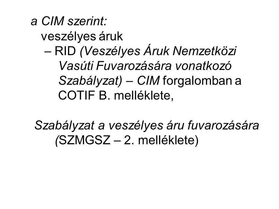 a CIM szerint: veszélyes áruk – RID (Veszélyes Áruk Nemzetközi Vasúti Fuvarozására vonatkozó Szabályzat) – CIM forgalomban a COTIF B.