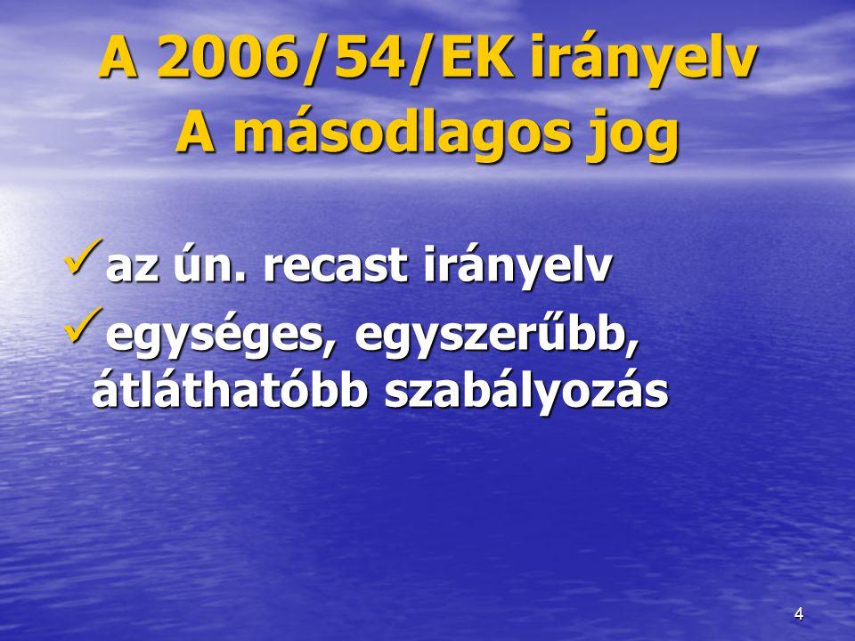 A 2006/54/EK irányelv A másodlagos jog
