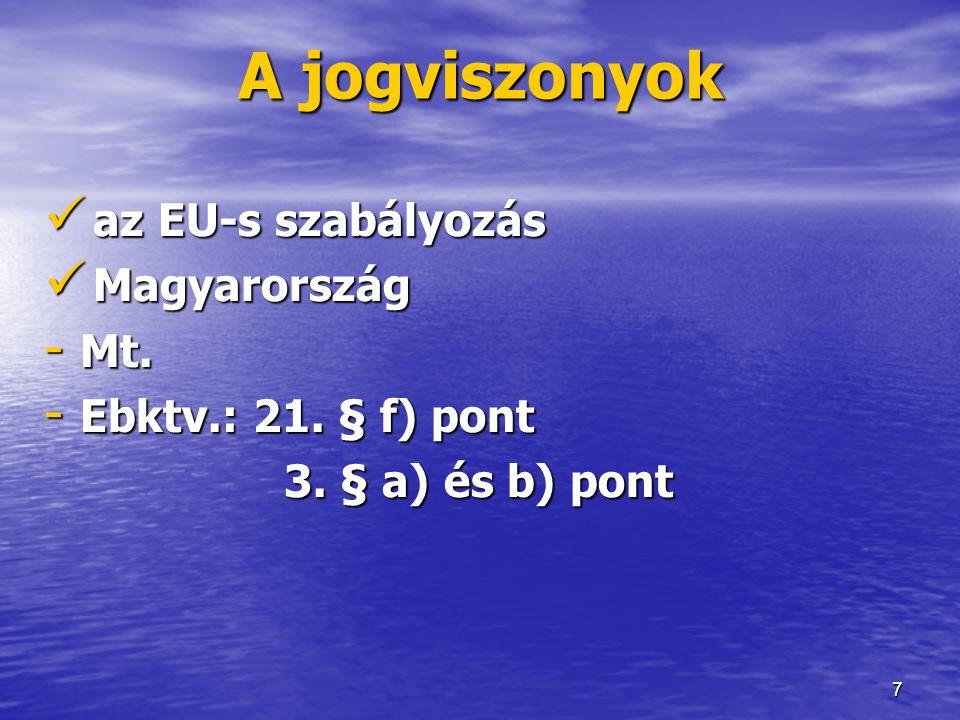 A jogviszonyok az EU-s szabályozás Magyarország Mt.