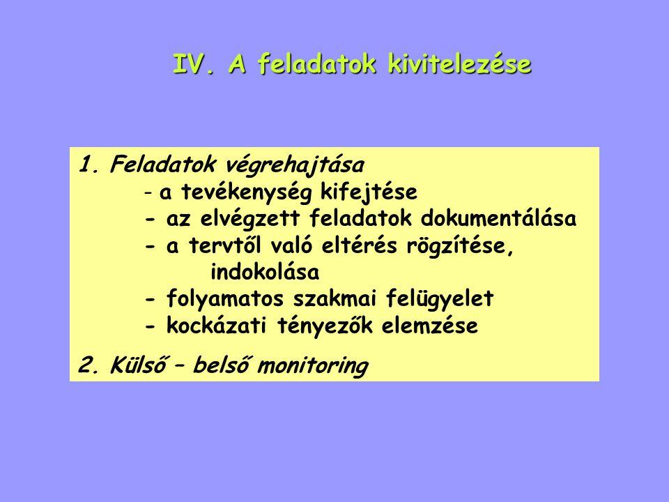 IV. A feladatok kivitelezése