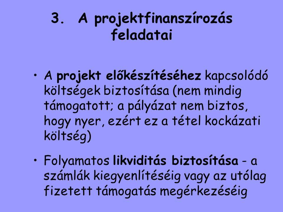 3. A projektfinanszírozás feladatai