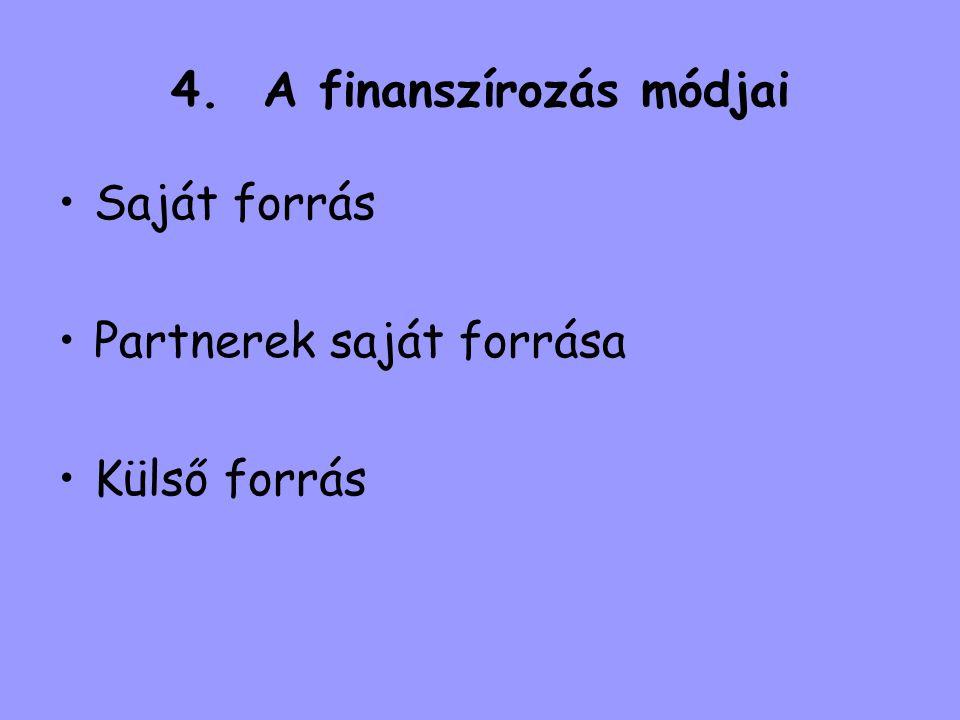 4. A finanszírozás módjai