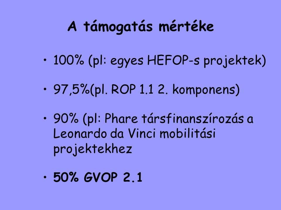 A támogatás mértéke 100% (pl: egyes HEFOP-s projektek)