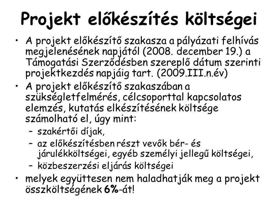 Projekt előkészítés költségei