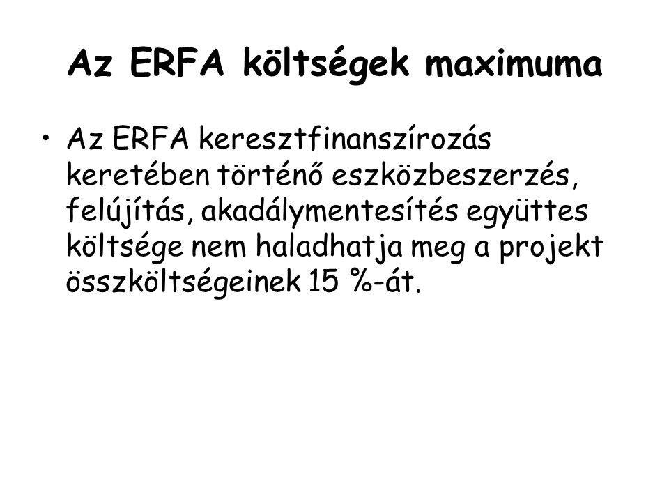 Az ERFA költségek maximuma