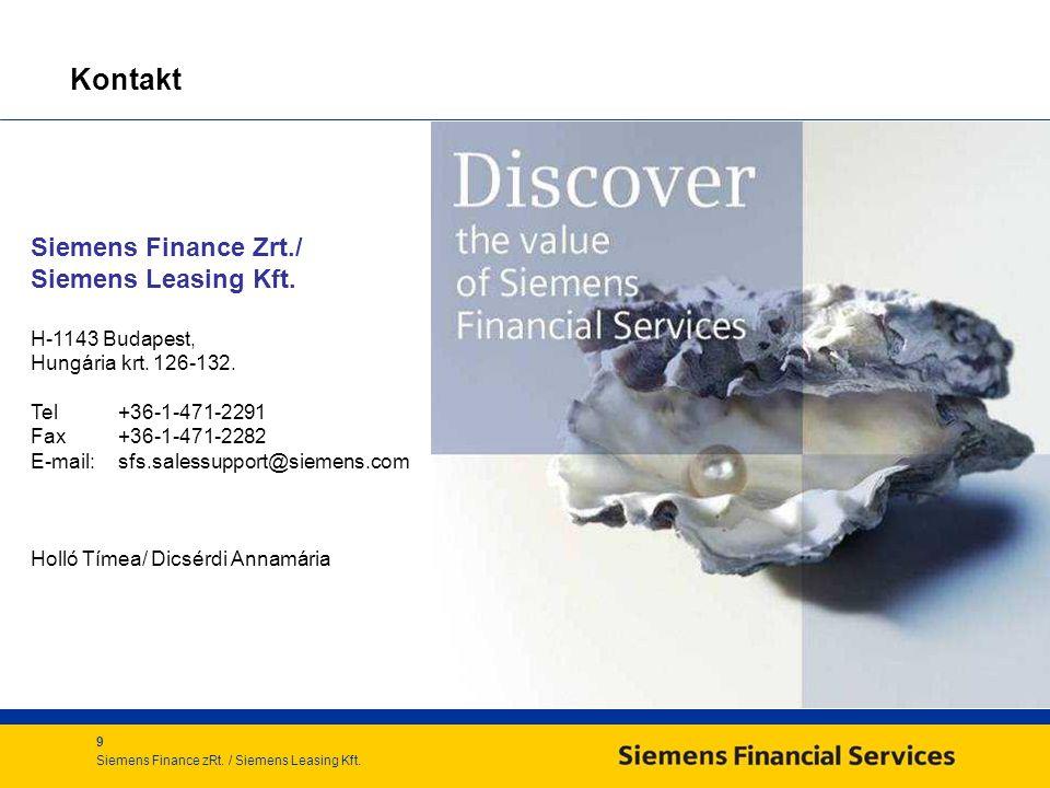 Kontakt Siemens Finance Zrt./ Siemens Leasing Kft. H-1143 Budapest,