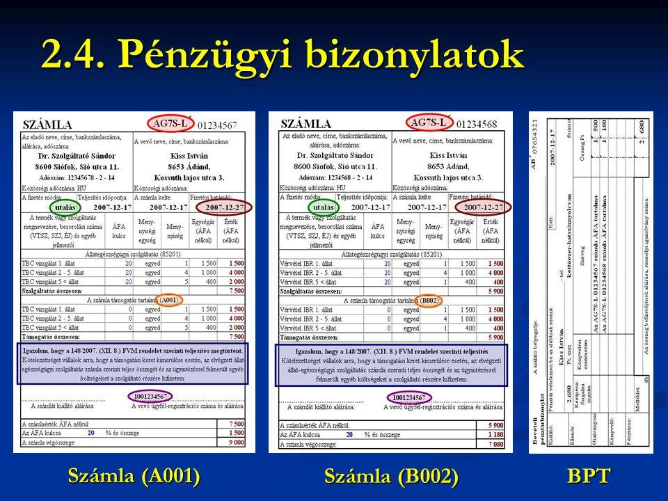 2.4. Pénzügyi bizonylatok Számla (A001) Számla (B002) BPT