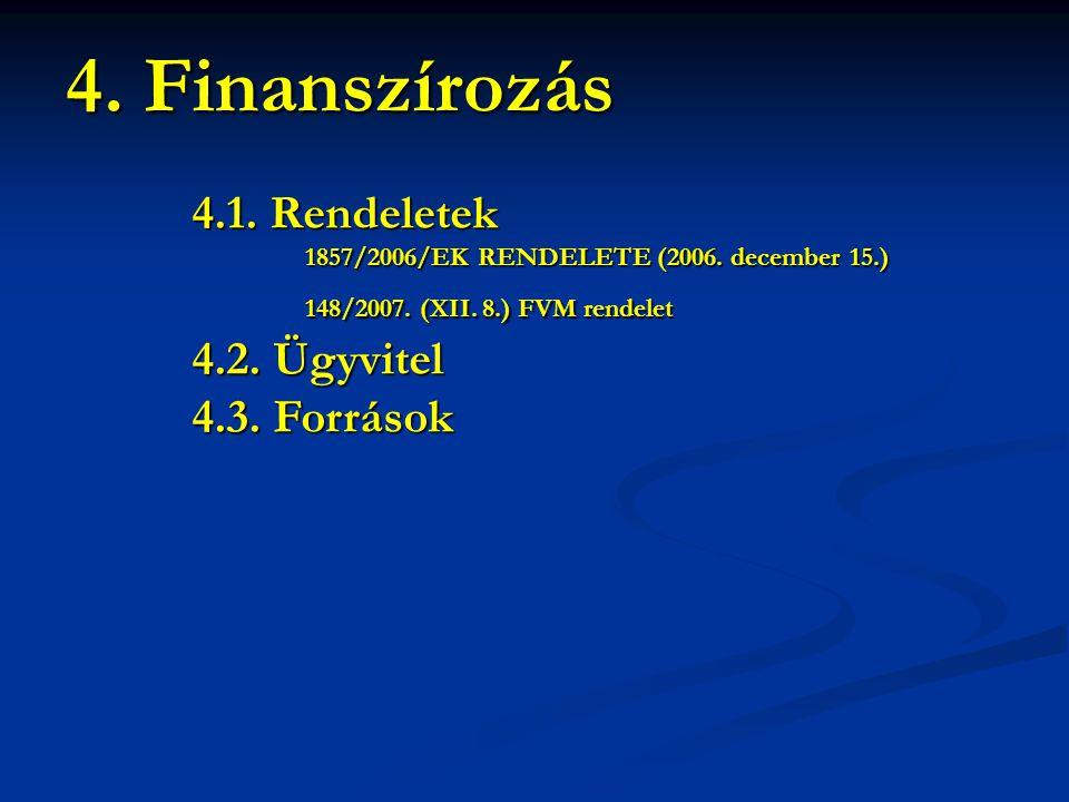 4. Finanszírozás 4.1. Rendeletek 4.2. Ügyvitel 4.3. Források
