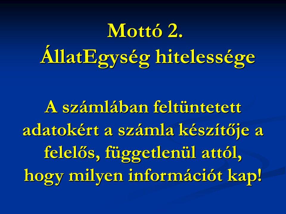 Mottó 2. ÁllatEgység hitelessége