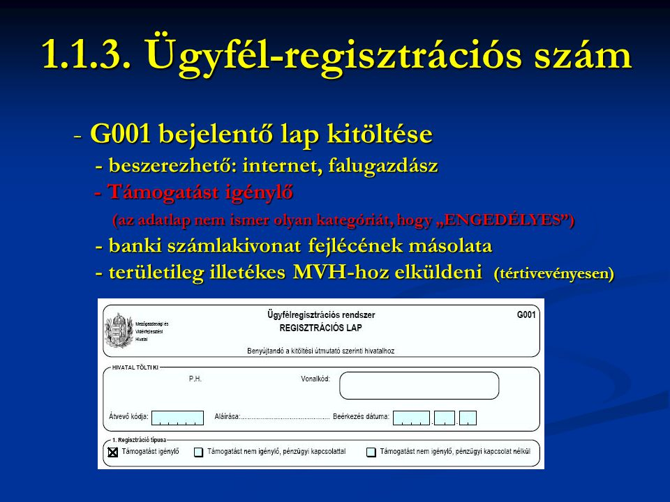 1.1.3. Ügyfél-regisztrációs szám