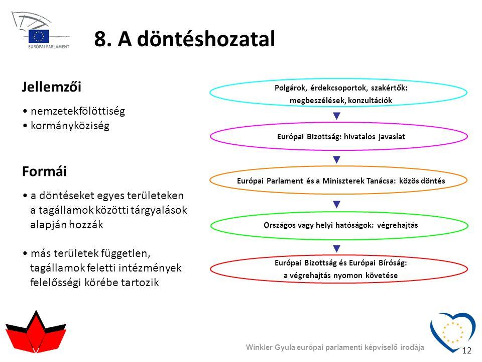 8. A döntéshozatal Jellemzői Formái nemzetekfölöttiség kormányköziség