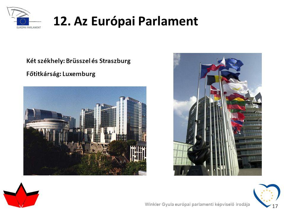 12. Az Európai Parlament Két székhely: Brüsszel és Straszburg