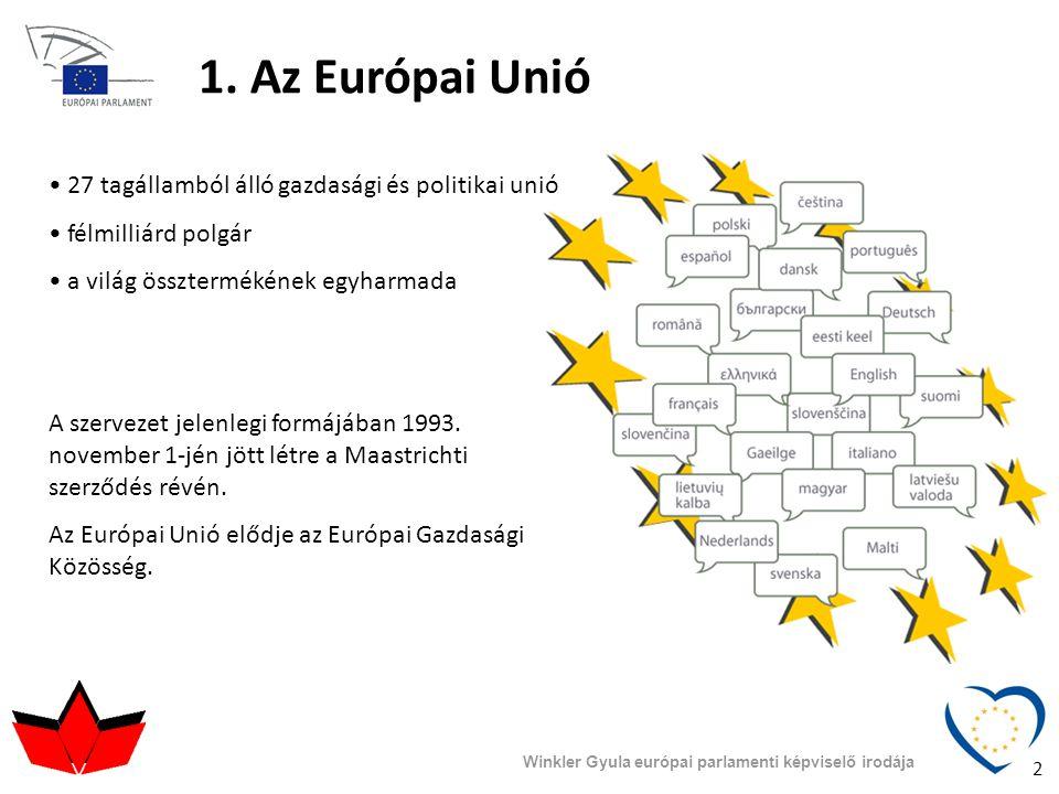 1. Az Európai Unió 27 tagállamból álló gazdasági és politikai unió