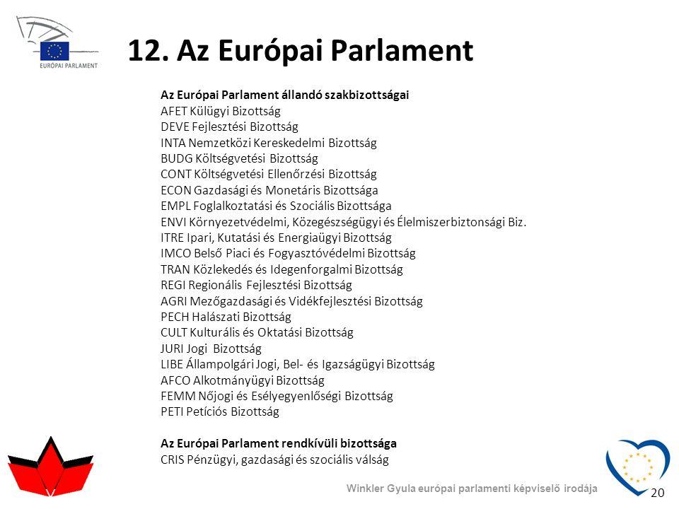 12. Az Európai Parlament Az Európai Parlament állandó szakbizottságai