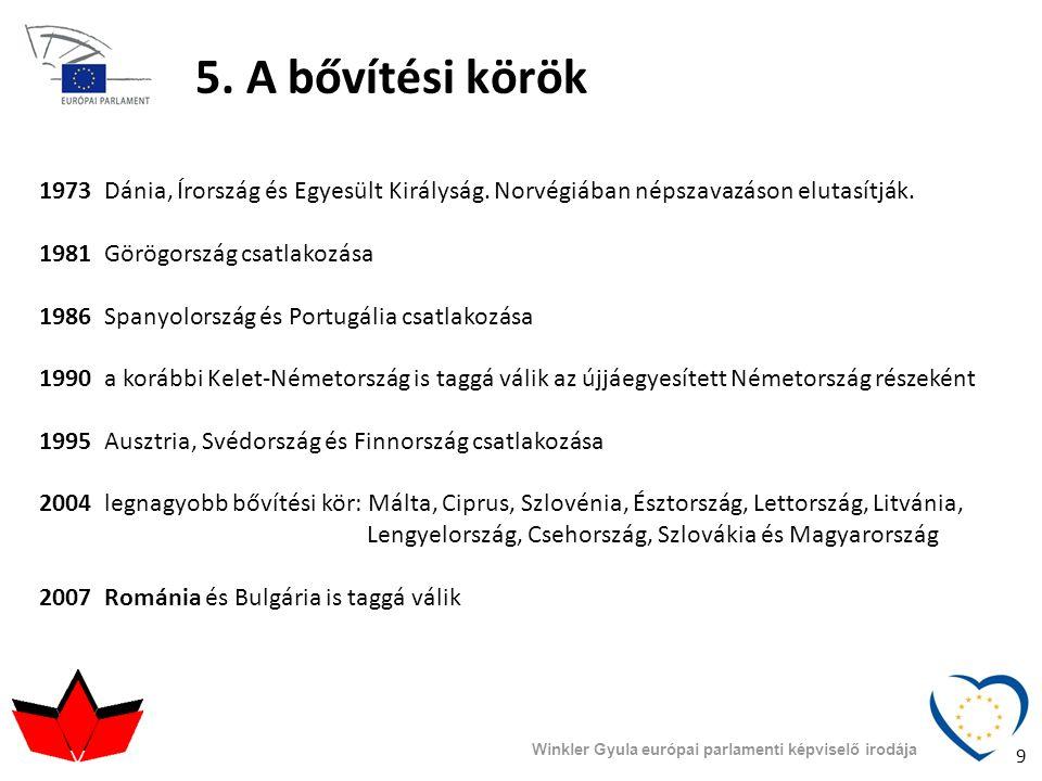 5. A bővítési körök 1973 Dánia, Írország és Egyesült Királyság. Norvégiában népszavazáson elutasítják.