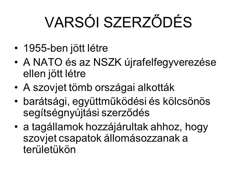 VARSÓI SZERZŐDÉS 1955-ben jött létre