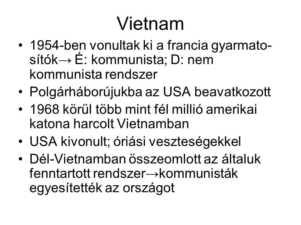 Vietnam 1954-ben vonultak ki a francia gyarmato-sítók→ É: kommunista; D: nem kommunista rendszer. Polgárháborújukba az USA beavatkozott.