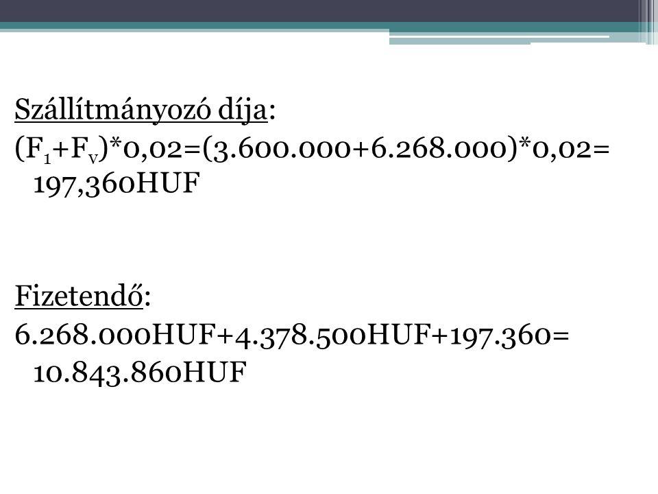 Szállítmányozó díja: (F1+Fv). 0,02=(3. 600. 000+6. 268. 000)