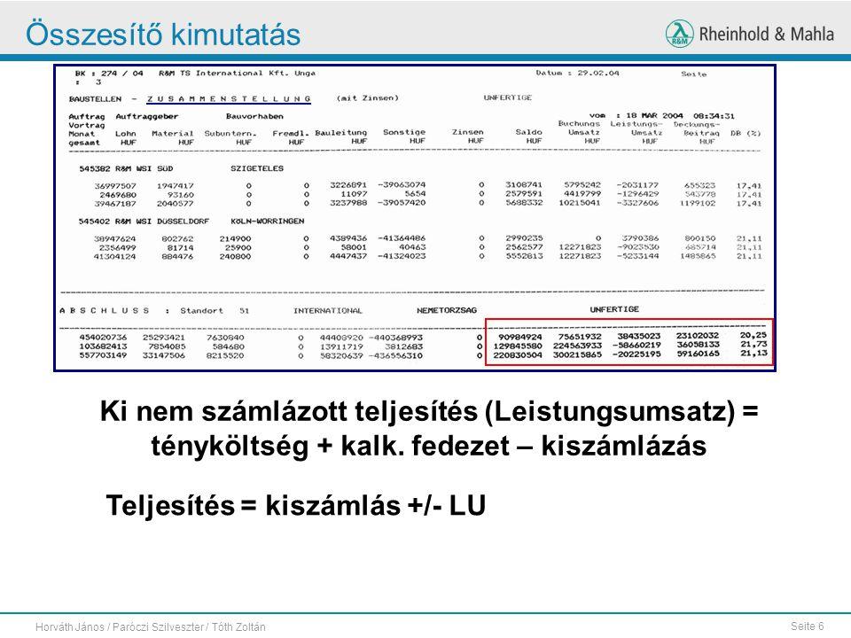 Összesítő kimutatás Ki nem számlázott teljesítés (Leistungsumsatz) = tényköltség + kalk. fedezet – kiszámlázás.