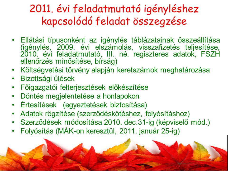 2011. évi feladatmutató igényléshez kapcsolódó feladat összegzése