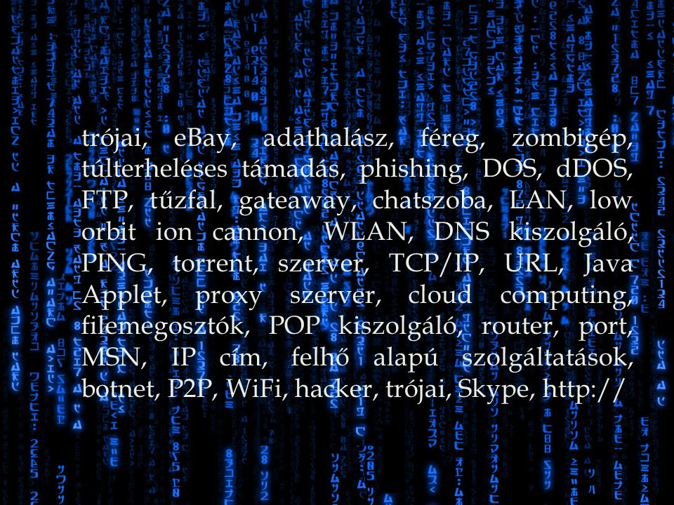 trójai, eBay, adathalász, féreg, zombigép, túlterheléses támadás, phishing, DOS, dDOS, FTP, tűzfal, gateaway, chatszoba, LAN, low orbit ion cannon, WLAN, DNS kiszolgáló, PING, torrent, szerver, TCP/IP, URL, Java Applet, proxy szerver, cloud computing, filemegosztók, POP kiszolgáló, router, port, MSN, IP cím, felhő alapú szolgáltatások, botnet, P2P, WiFi, hacker, trójai, Skype, http://