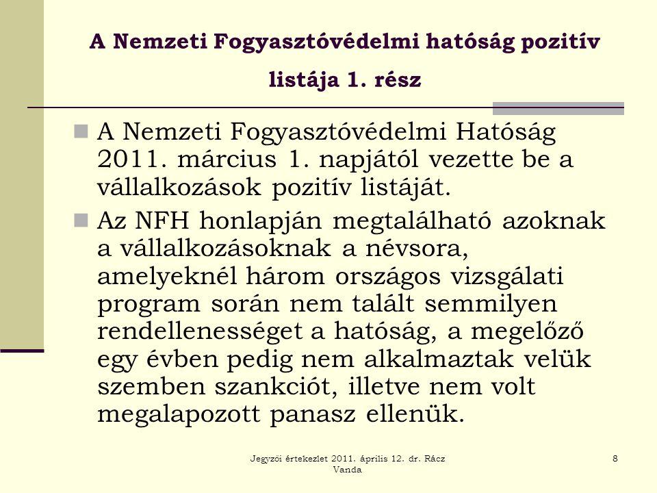 A Nemzeti Fogyasztóvédelmi hatóság pozitív listája 1. rész