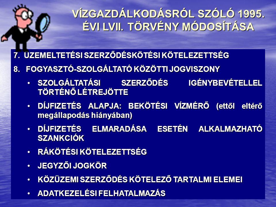 VÍZGAZDÁLKODÁSRÓL SZÓLÓ 1995. ÉVI LVII. TÖRVÉNY MÓDOSÍTÁSA