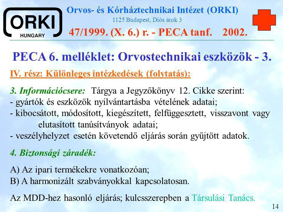 PECA 6. melléklet: Orvostechnikai eszközök - 3.