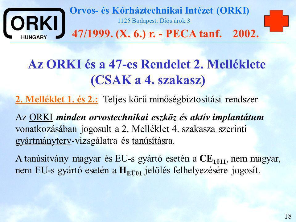 Az ORKI és a 47-es Rendelet 2. Melléklete (CSAK a 4. szakasz)