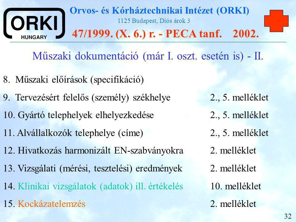 Műszaki dokumentáció (már I. oszt. esetén is) - II.