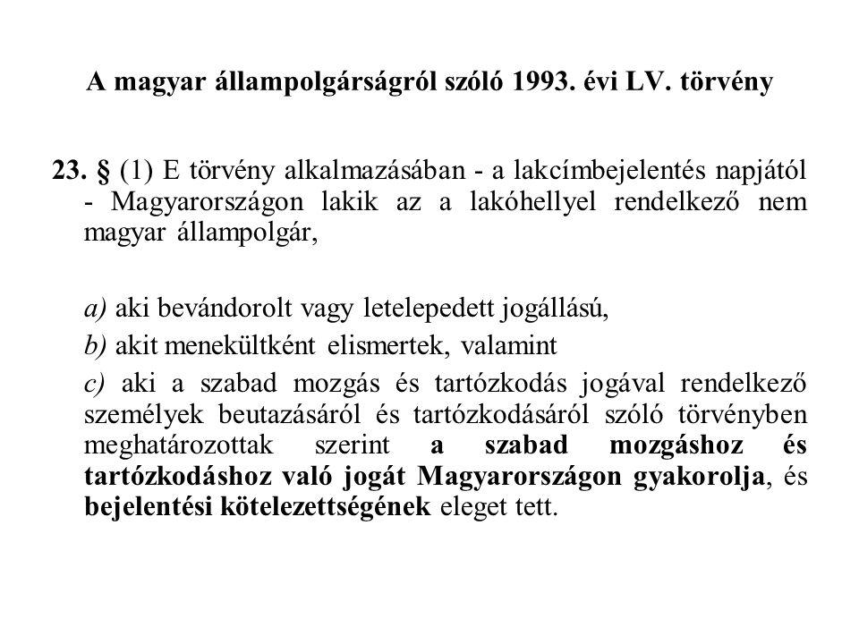 A magyar állampolgárságról szóló 1993. évi LV. törvény