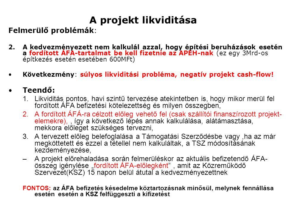 A projekt likviditása Felmerülő problémák: Teendő: