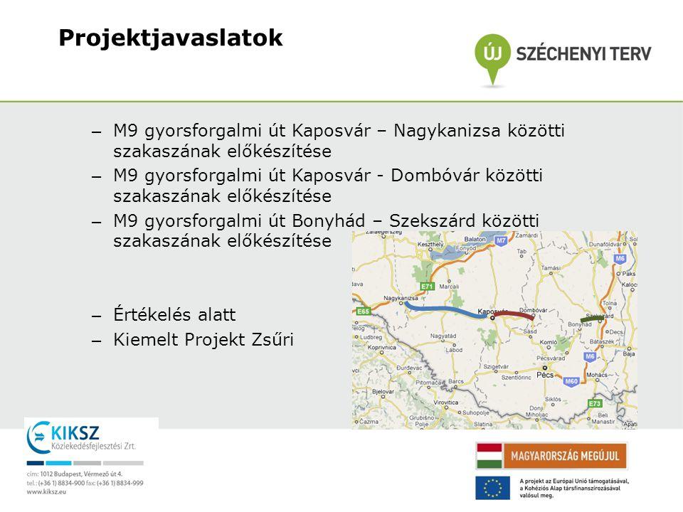 Projektjavaslatok M9 gyorsforgalmi út Kaposvár – Nagykanizsa közötti szakaszának előkészítése.