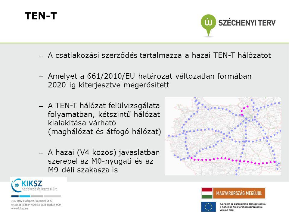 TEN-T A csatlakozási szerződés tartalmazza a hazai TEN-T hálózatot
