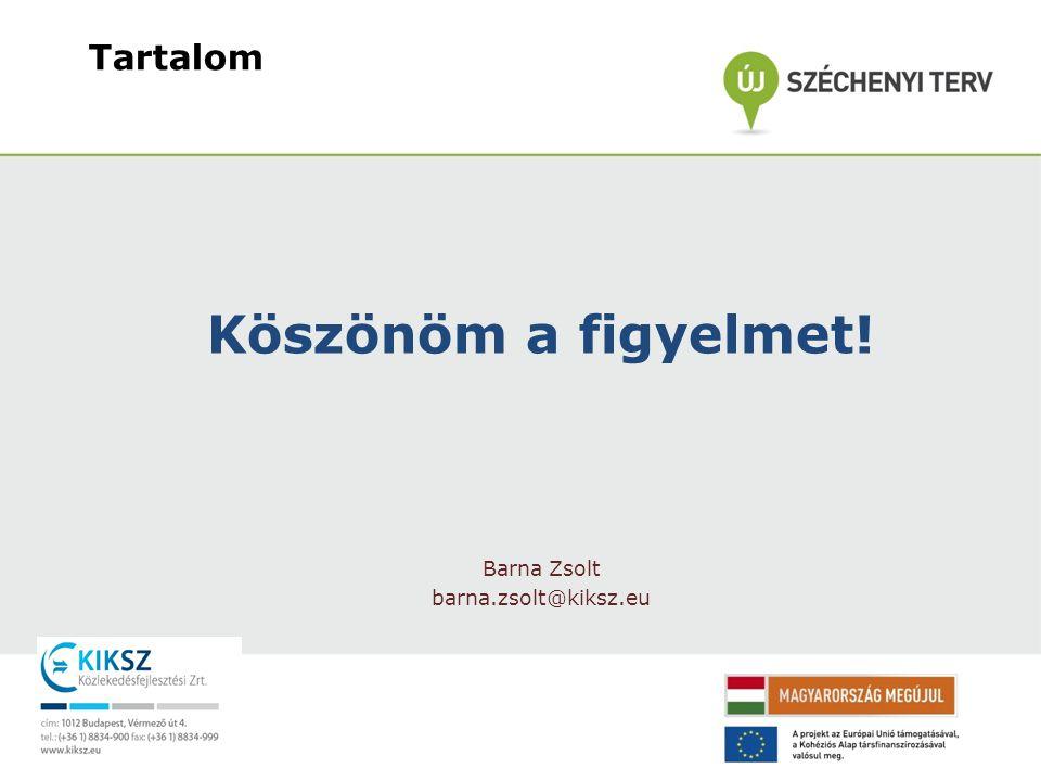 Tartalom Köszönöm a figyelmet! Barna Zsolt barna.zsolt@kiksz.eu