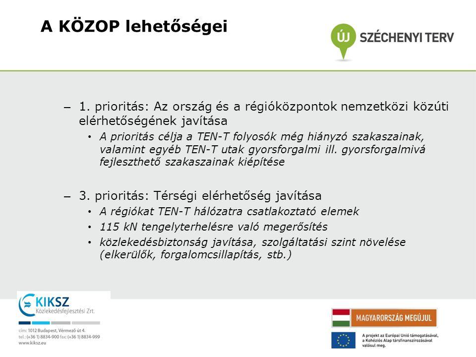A KÖZOP lehetőségei 1. prioritás: Az ország és a régióközpontok nemzetközi közúti elérhetőségének javítása.