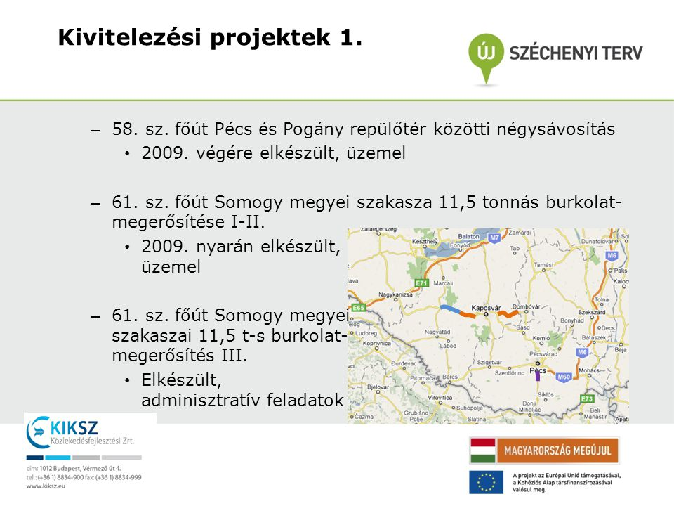 Kivitelezési projektek 1.