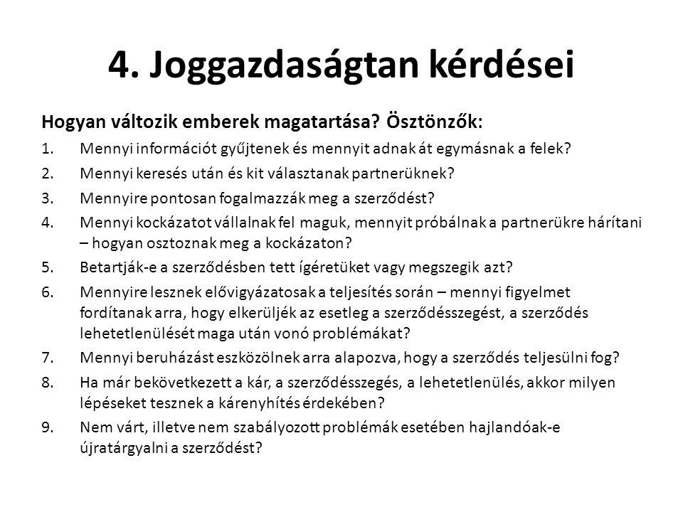 4. Joggazdaságtan kérdései