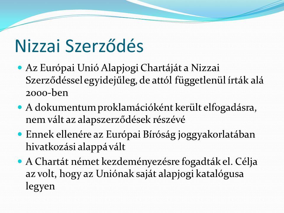 Nizzai Szerződés Az Európai Unió Alapjogi Chartáját a Nizzai Szerződéssel egyidejűleg, de attól függetlenül írták alá 2000-ben.