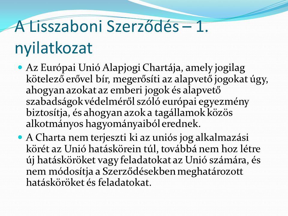 A Lisszaboni Szerződés – 1. nyilatkozat