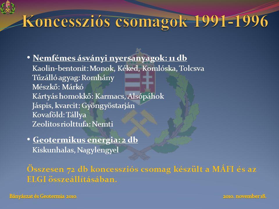 Koncessziós csomagok 1991-1996
