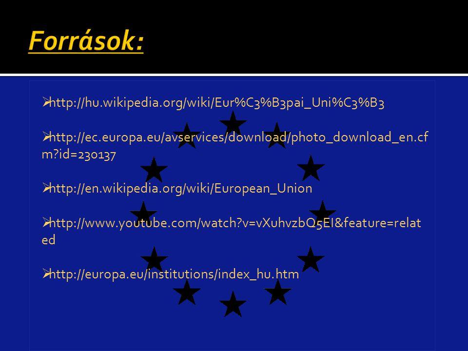Források: http://hu.wikipedia.org/wiki/Eur%C3%B3pai_Uni%C3%B3