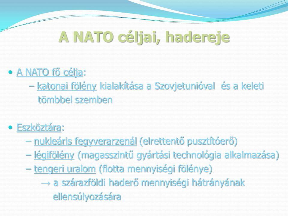 A NATO céljai, hadereje A NATO fő célja: