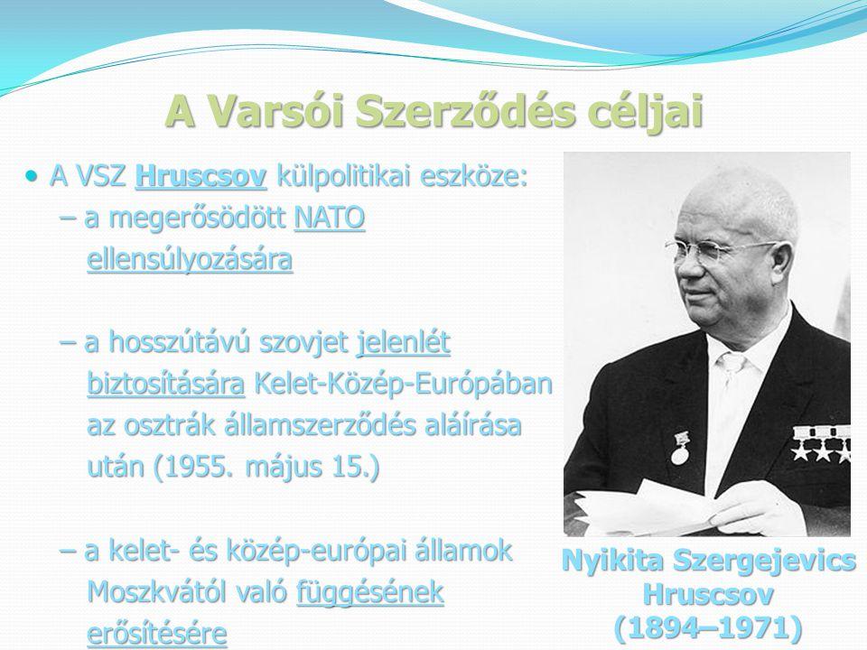 A Varsói Szerződés céljai