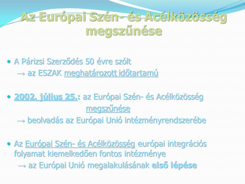 Az Európai Szén- és Acélközösség megszűnése