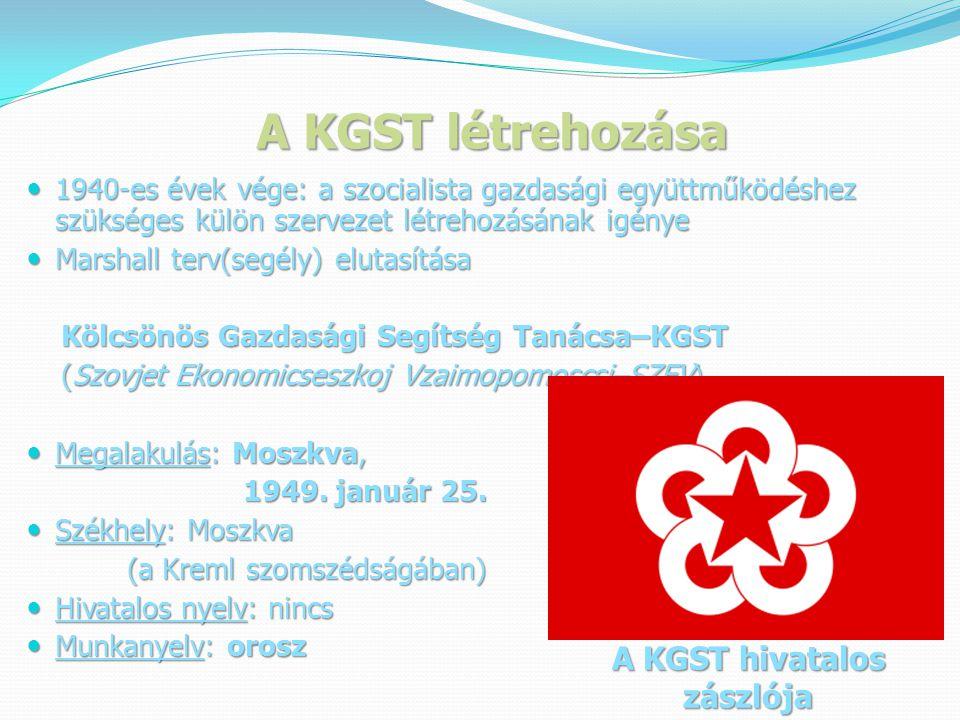 A KGST létrehozása A KGST hivatalos zászlója